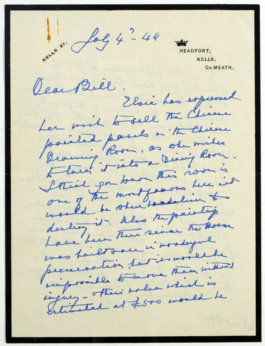 Letter from Rosie, Marchioness of Headfort, 4 July 1944 from our Headfort Collection