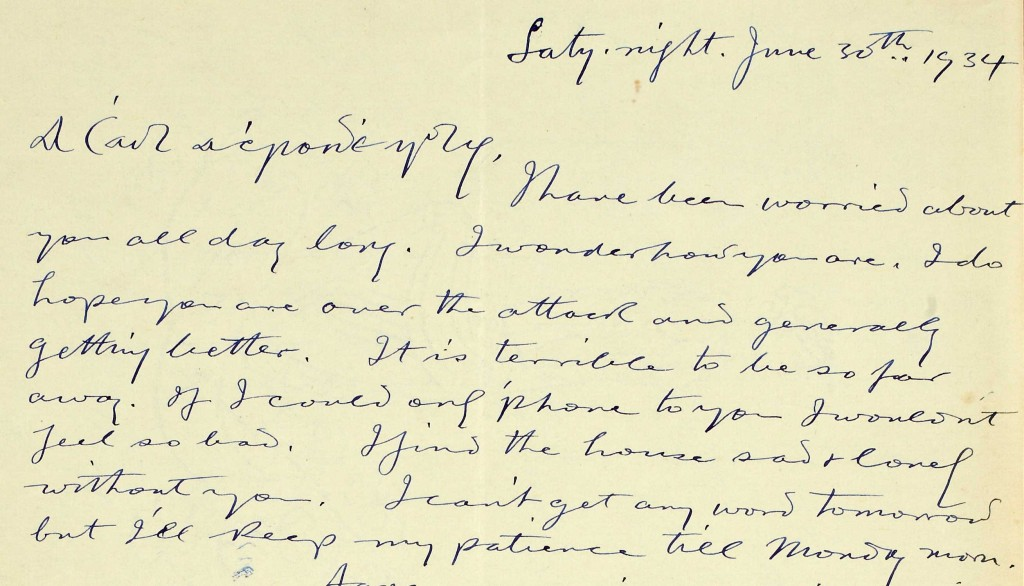 Letter from Seán T. Ó Ceallaigh (O'Kelly), Saturday night, June 30th 1934, to his wife Cáit (Mary-Kate or Kit) in Bad Nauheim, Germany. NLI ref. no. Ms. 47,977