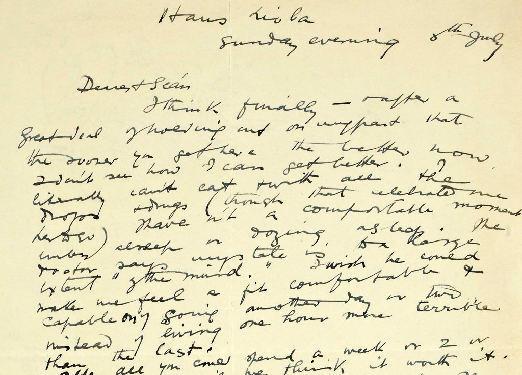 Last letter from Cáit (Mary-Kate or Kit) Ó Ceallaigh, to her husband Seán T., written from Haus Lioda, Bad Nauheim, Germany on Sunday evening, 8th July 1934. NLI ref. no. Ms. 47,977