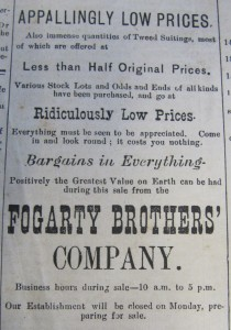 Appallingly and Ridiculously Low Prices from Fogarty Brothers, Nenagh News, 25 January 1896
