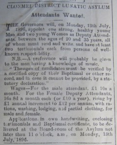 ... with rations, washing, lodging, and partial clothing, for male and female, Nenagh News, 4 July 1896