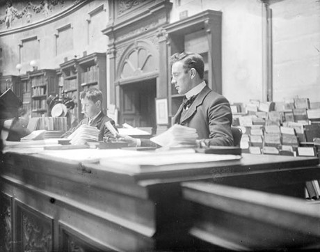 Library lore has it that this is Seán T. Ó Ceallaigh at work in the NLI Reading Room. NLI call no. CLAR71
