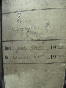 Original box file of Press Cuttings from 23 February to 21 March 1922