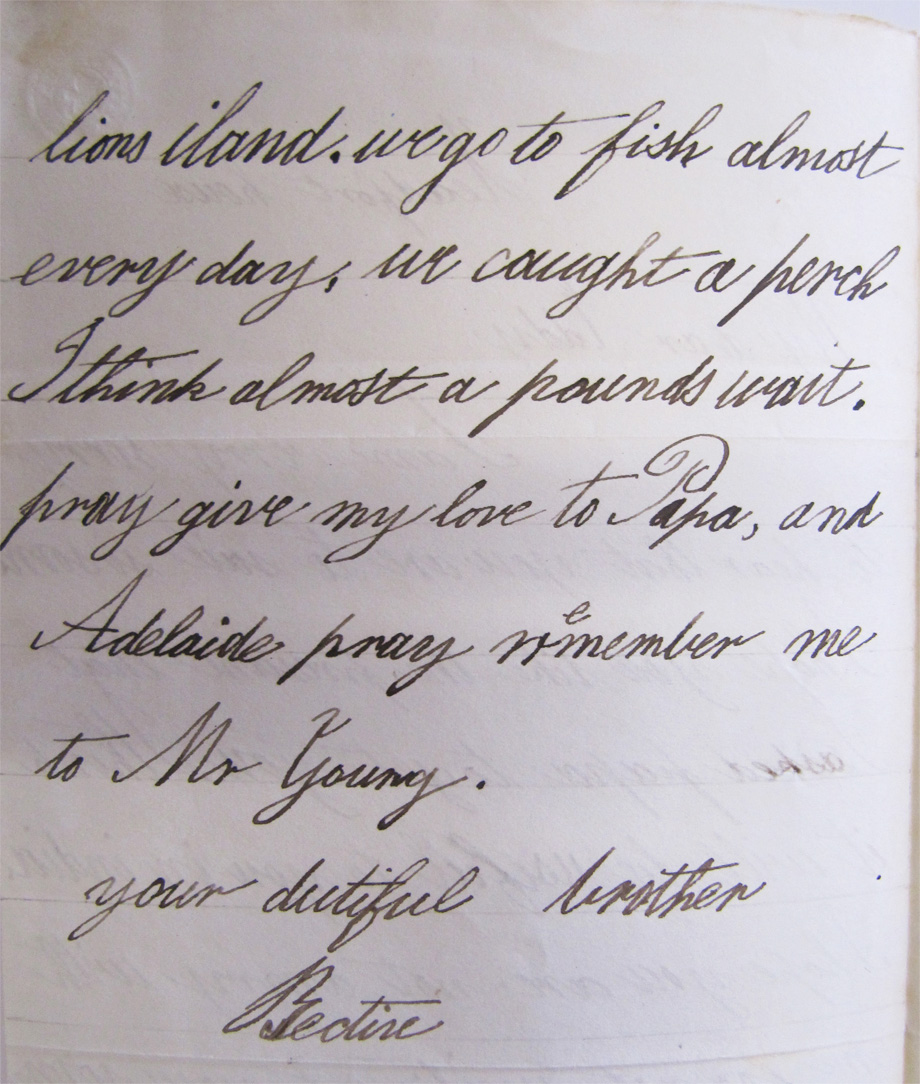 Second page of a letter from Bective, later 3rd Marquess Headfort to his brother, Edward Tuite Dalton, very sweetly boasting of catching a perch that was almost a pounds wait (sic). NLI ref. Ms. 49,015.