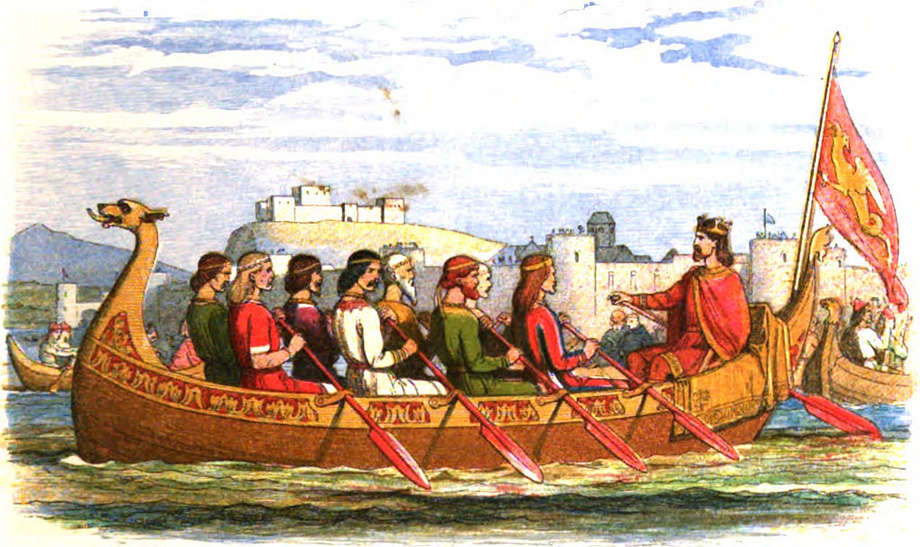 The Barge of Edgar Manned by Eight Kings on the Dee, from A Chronicle of England (1864) by James Doyle
