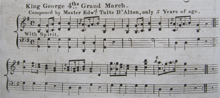 King George IV's Grand March. Composed by Master Edward Tuite D'Alton, only 5 Years of age. NLI ref. JM 4639