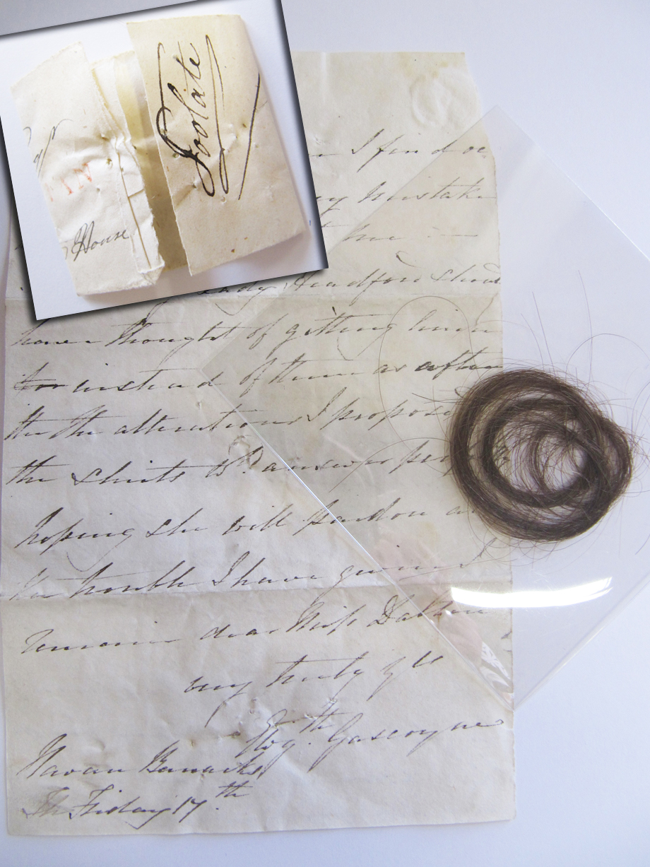 Surprisingly unromantic letter to Adelaide Tuite Dalton from a gentleman at Navan Barracks containing a lock of hair, NLI ref. Ms. 49,014/1 and another lock wrapped in paper that says Edward Lucas Esq. of Castleshane House, Co. Monaghan (the owner of said lock?)