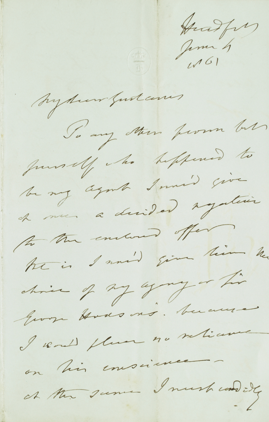Letter from Lord Headfort to his son, Gustavus Tuite Dalton re Estate Matters, 4 January 1861. NLI Ref. Ms 49,011/1
