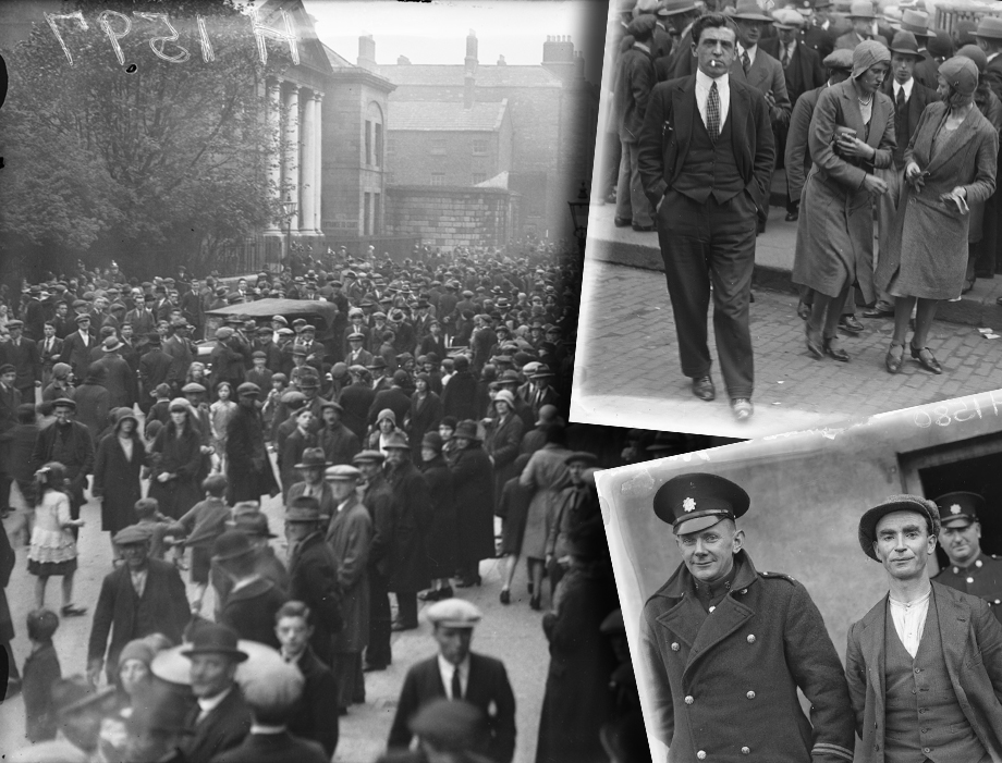 Cork, 1931 - Crowd scenes at a murder trial in Cork, illustrating the public appetite for such cases. Suspect inset bottom right (from our Independent Newspapers Collection)