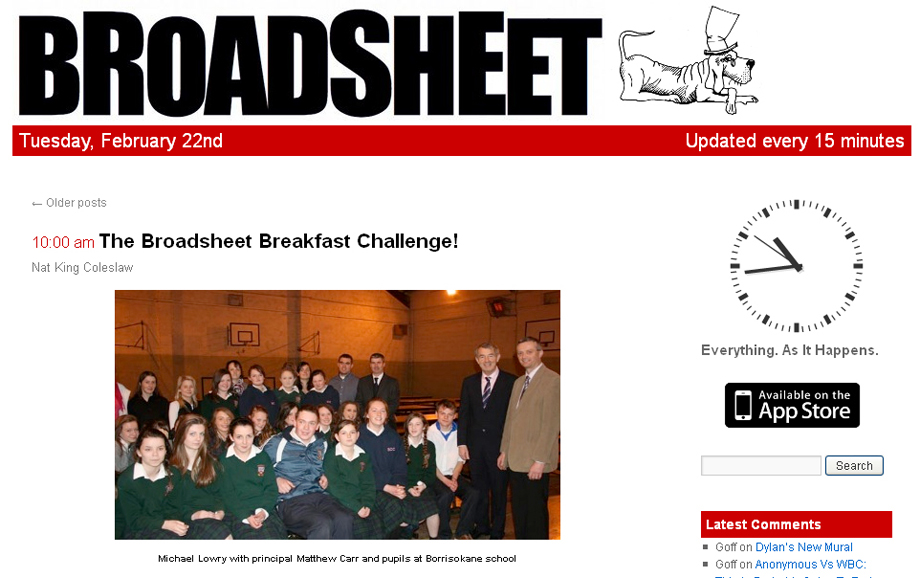 Broadsheet.ie at 10 a.m. on Tuesday, 22 February