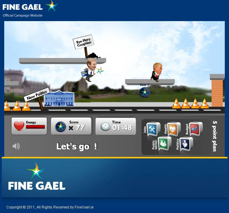 Enda Kenny in hot pursuit of Eamon Gilmore in a game on the Fine Gael website