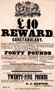 Carlow, March 1854, Reward Poster for two miscreants wanted for Conspiracy to Murder (from our Ephemera Collection)