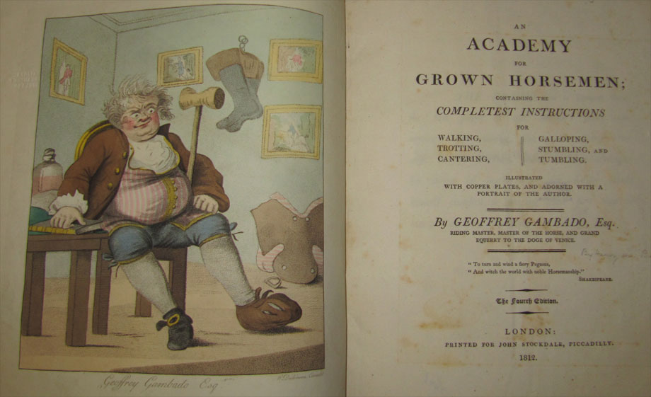 An Academy for Grown Horsemen by Geoffrey Gambado, 1812.  (J 397)