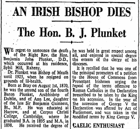 Notice of death of Benjamin Plunket, Bishop of Meath in the Irish Times, 27 January 1947