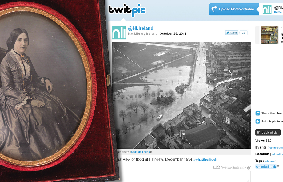 From Daguerreotypes to Twitpics! This is the very lovely Miss Coddington of Co. Louth, patiently sitting in her chair since 1852, alongside a photo from our Independent Newspapers (Ireland) Collection, tweeted the morning after last month's Dublin flooding...