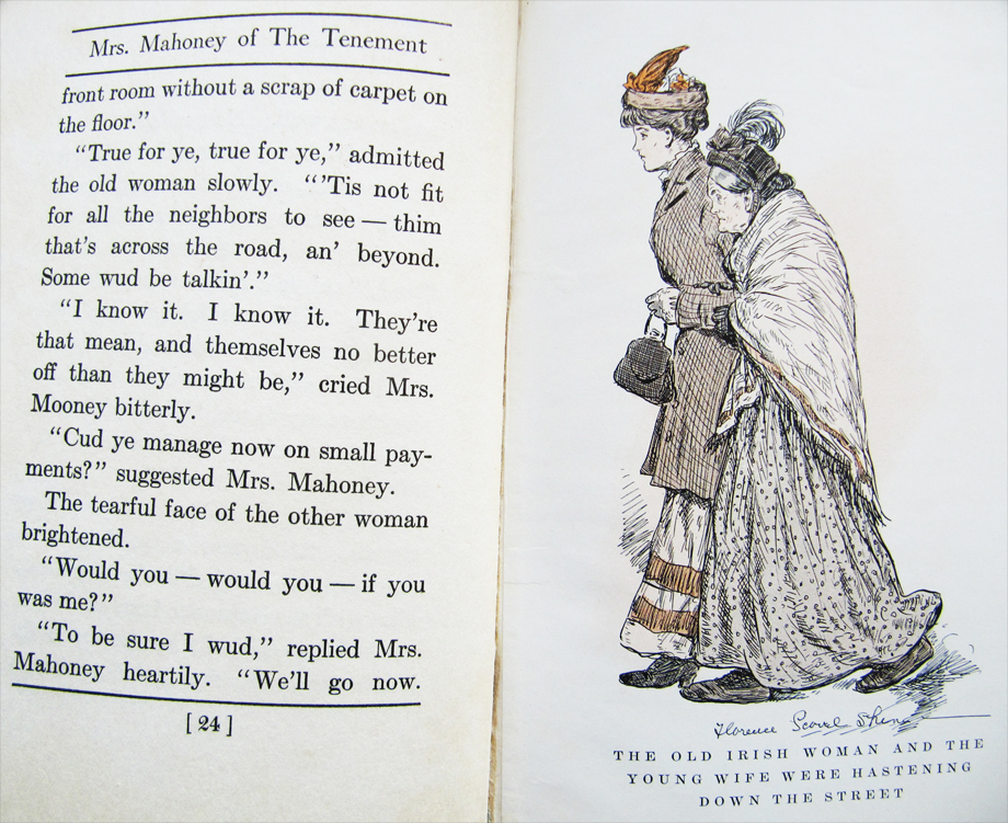 From Mrs Mahoney of the Tenement by Louise Montgomery, 1912. Illustrated by Florence Scovel Shinn.  NLI Ref. GR 3346