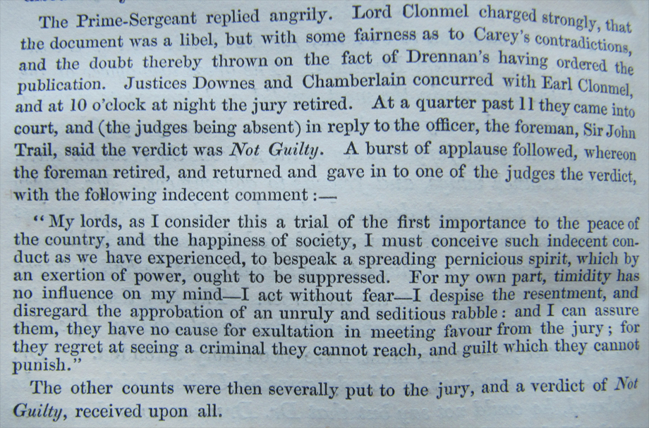 The final exciting moments of the Drennan Trial from The Speeches of the Right Honourable John Philpot Curran, p. 232.  NLI ref. J 825