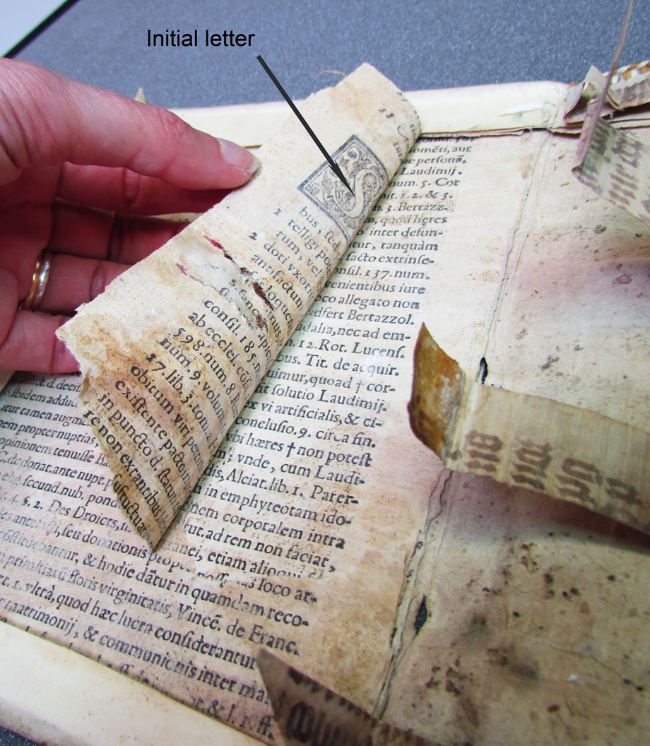 The pasteboards were made of old book pages