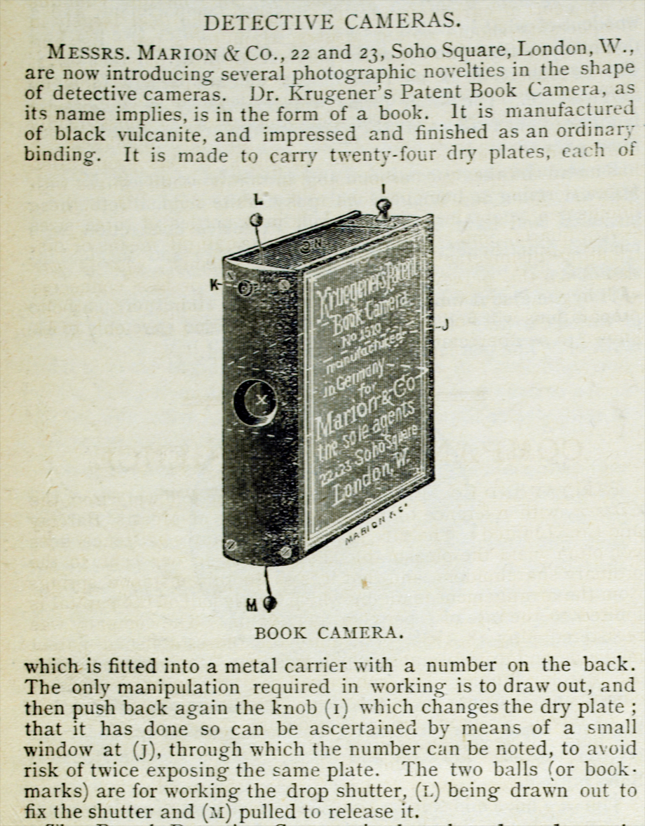 Dr. Krugener's Patent Book Camera - for industrial espionage? Divorce cases? Peeping Toms?