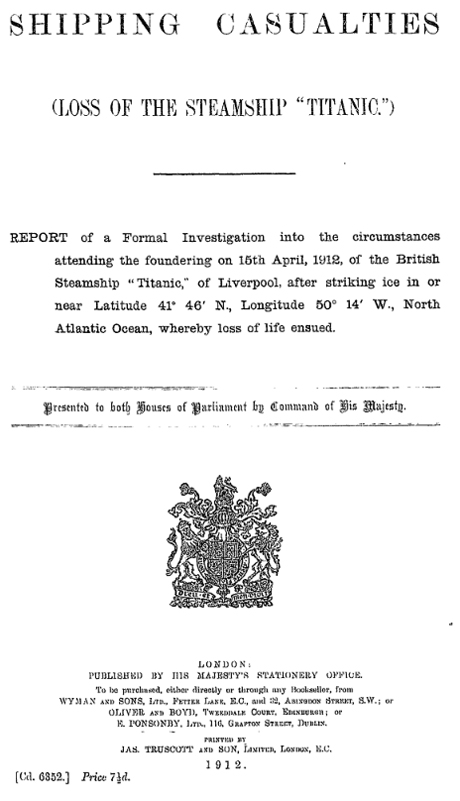 Title page of the British Parliamentary report on the sinking of the Titanic