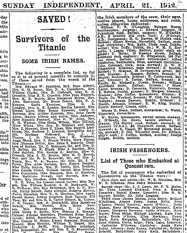 Sunday Independent, 21 April 1912