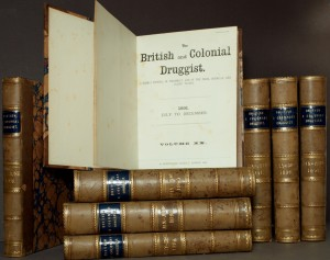 The British and Colonial Druggist, January 1889 to December 1892, in all its beautifully bound glory...  It's on our shelves at call no. 1K 2182