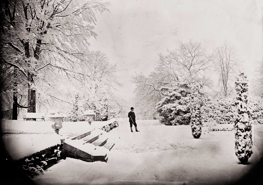 """... snow was general all over Ireland."" It certainly was in this photograph taken on 10 December 1870 in the grounds of Clonbrock House, Ahascragh, Galway."