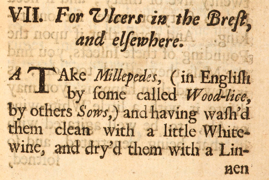 For Ulcers in the Brest, and elsewhere from Medicinal Experiments by the Honorable R. Boyle, Esq; Fellow of the Royal Society, London, 1692. NLI ref. LO 4365