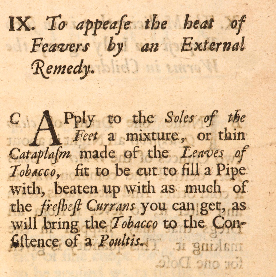 To appease the heat of Feavers from Medicinal Experiments by the Honorable R. Boyle, Esq; Fellow of the Royal Society, London, 1692. NLI ref. LO 4365
