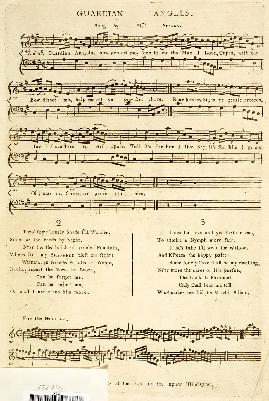 Guardian Angels sung by Mrs Sparks, and printed in Dublin by Benjamin Rhames at the Sun on the upper Blind Quay, 18th century. NLI   ref.: Mu-sb-16