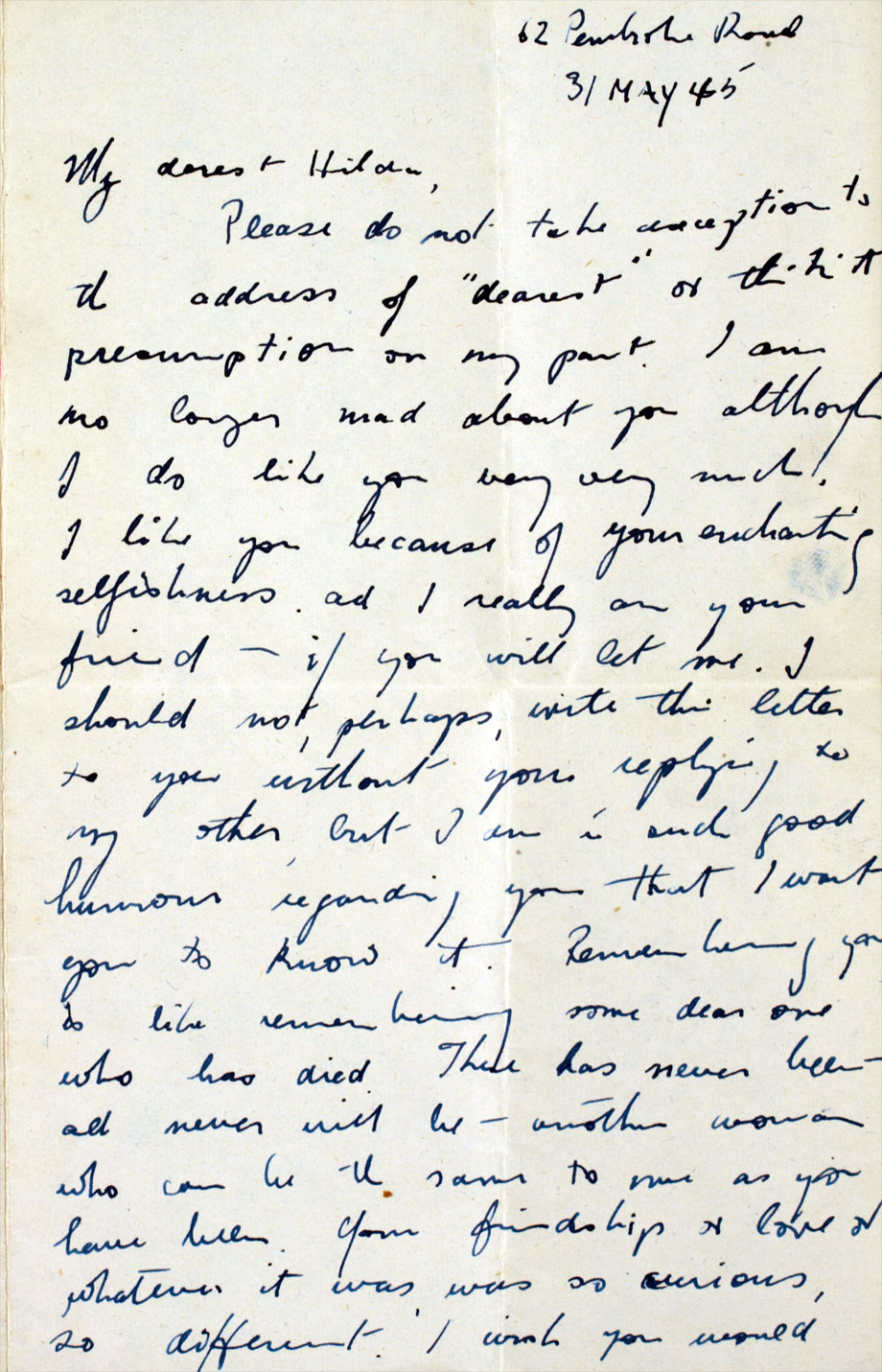 Love letter from poet Patrick Kavanagh to medical student Hilda Moriarty, 31 May 1945. NLI ref.: Ms. 46,868