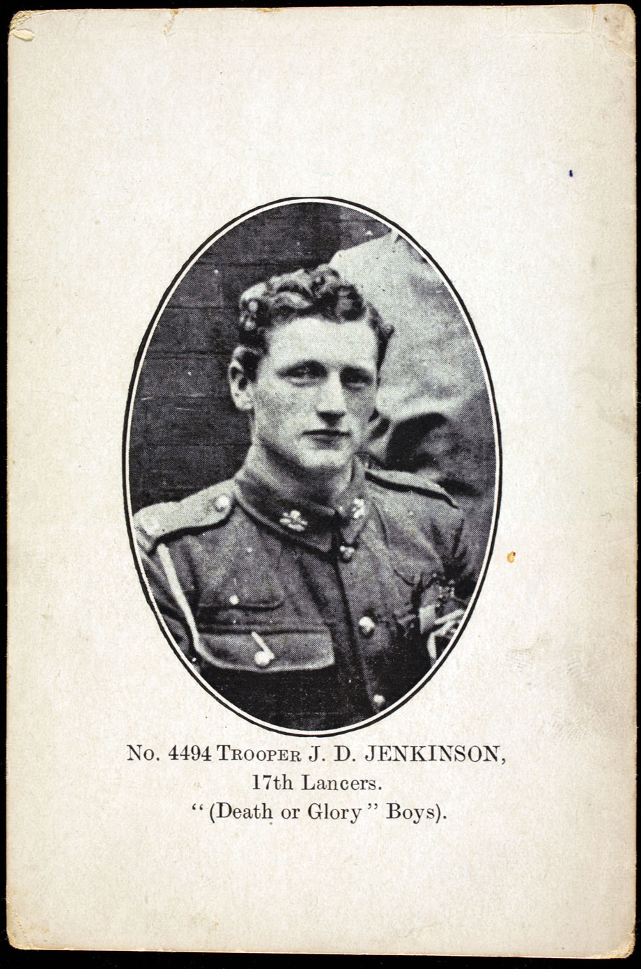 Jack Jenkinson in 1917 - No. 4494 Trooper J. D. Jenkinson, 17th Lancers