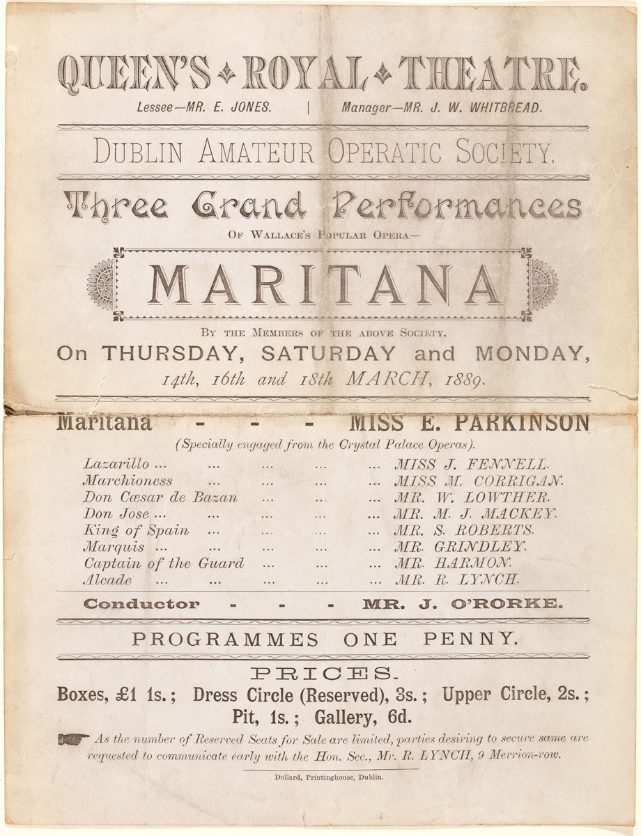 Programme for Three Grand Performances of Maritana at the Queen's Royal Theatre, Dublin in March 1889