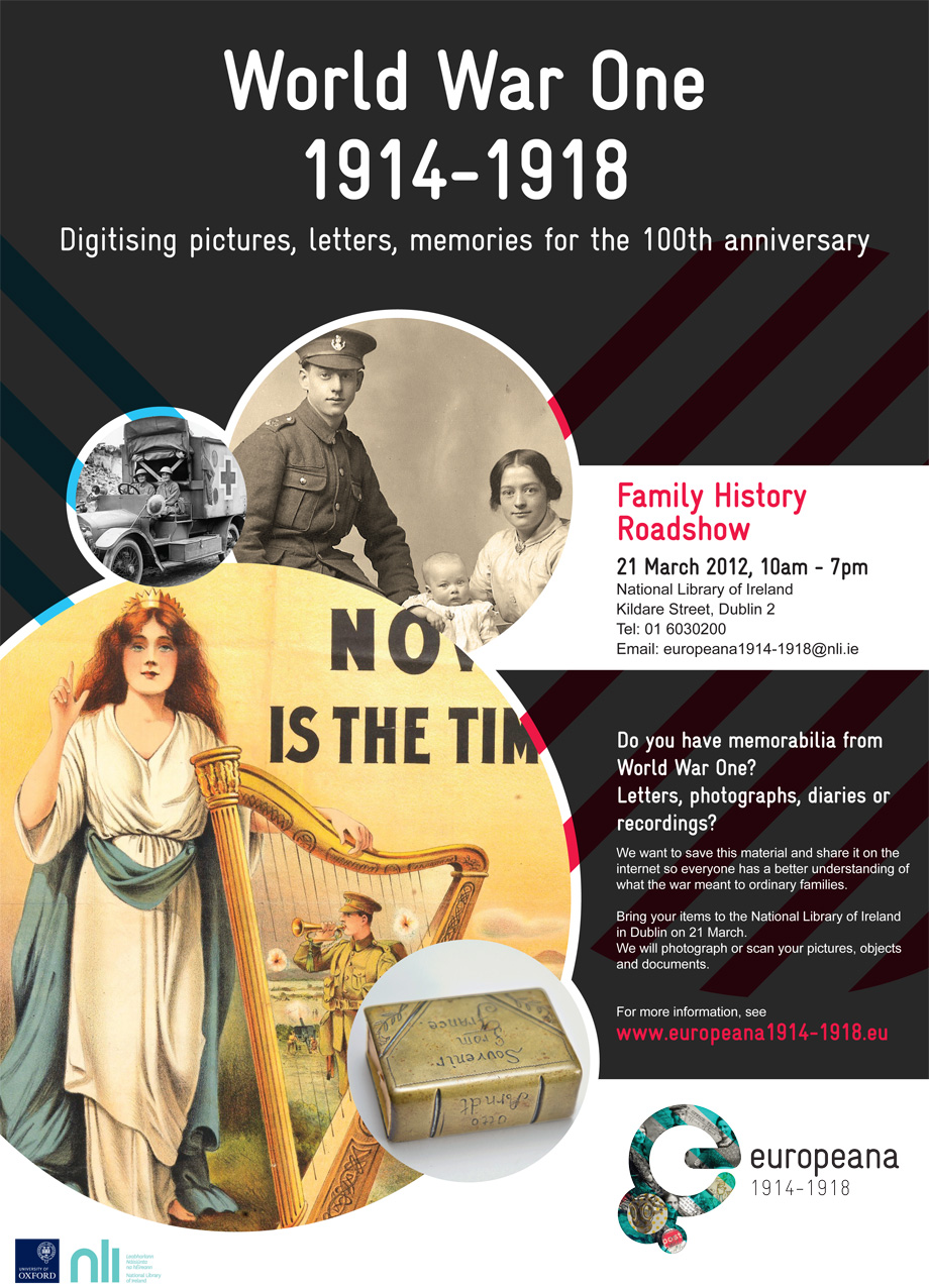 Our WWI Family History Roadshow takes place here at the National Library of Ireland on Wednesday, 21 March 2012 from 10 a.m. to 7 p.m.