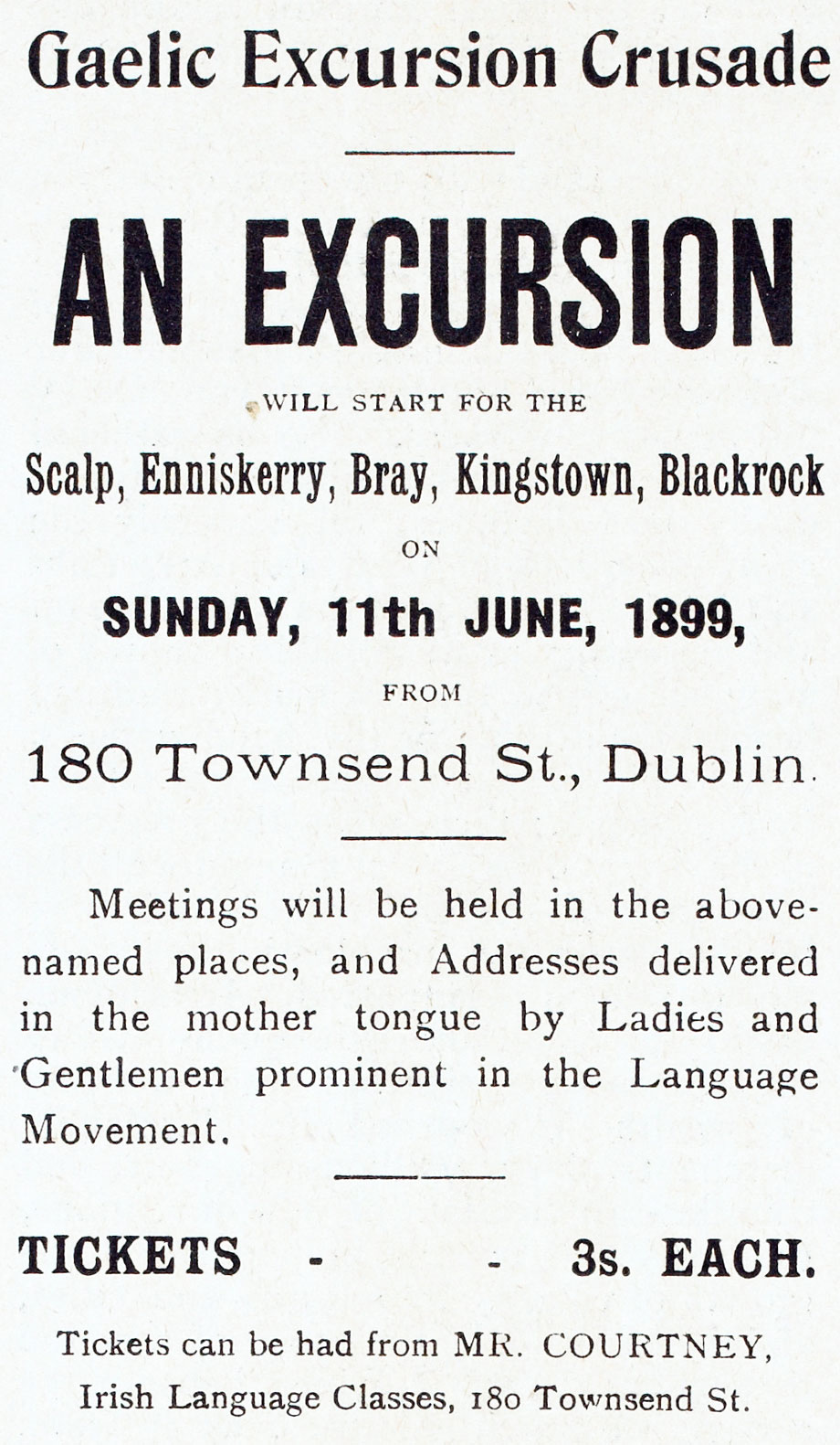 Advertisement for a Gaelic Excursion Crusade from The United Irishman, 1899