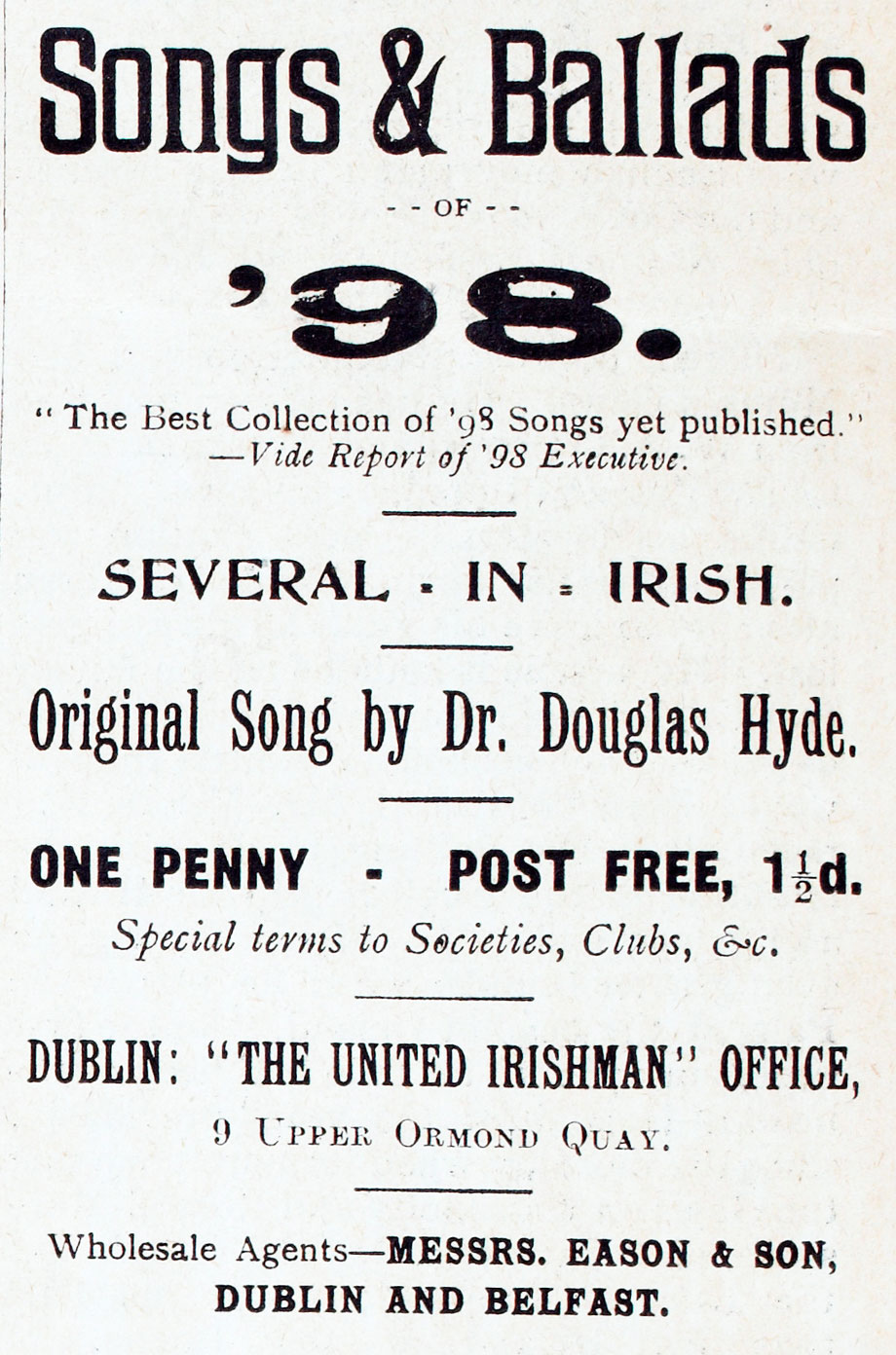 Advertisement for Songs and Ballads of '98, including an Original Song by Dr. Douglas Hyde, from The United Irishman, 1899