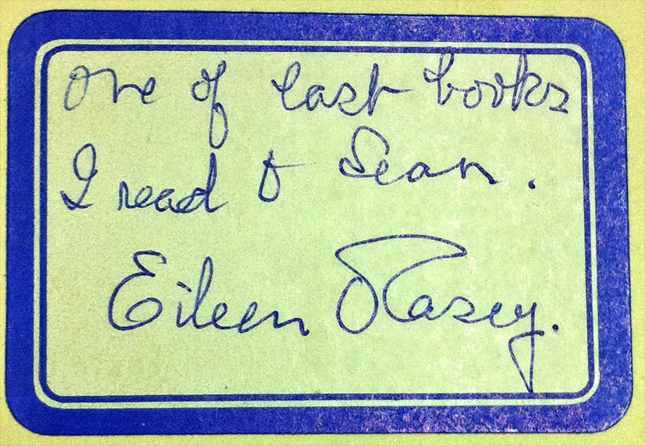 One of the last books I read to Sean. Eileen O'Casey. NLI ref.: LO 11544