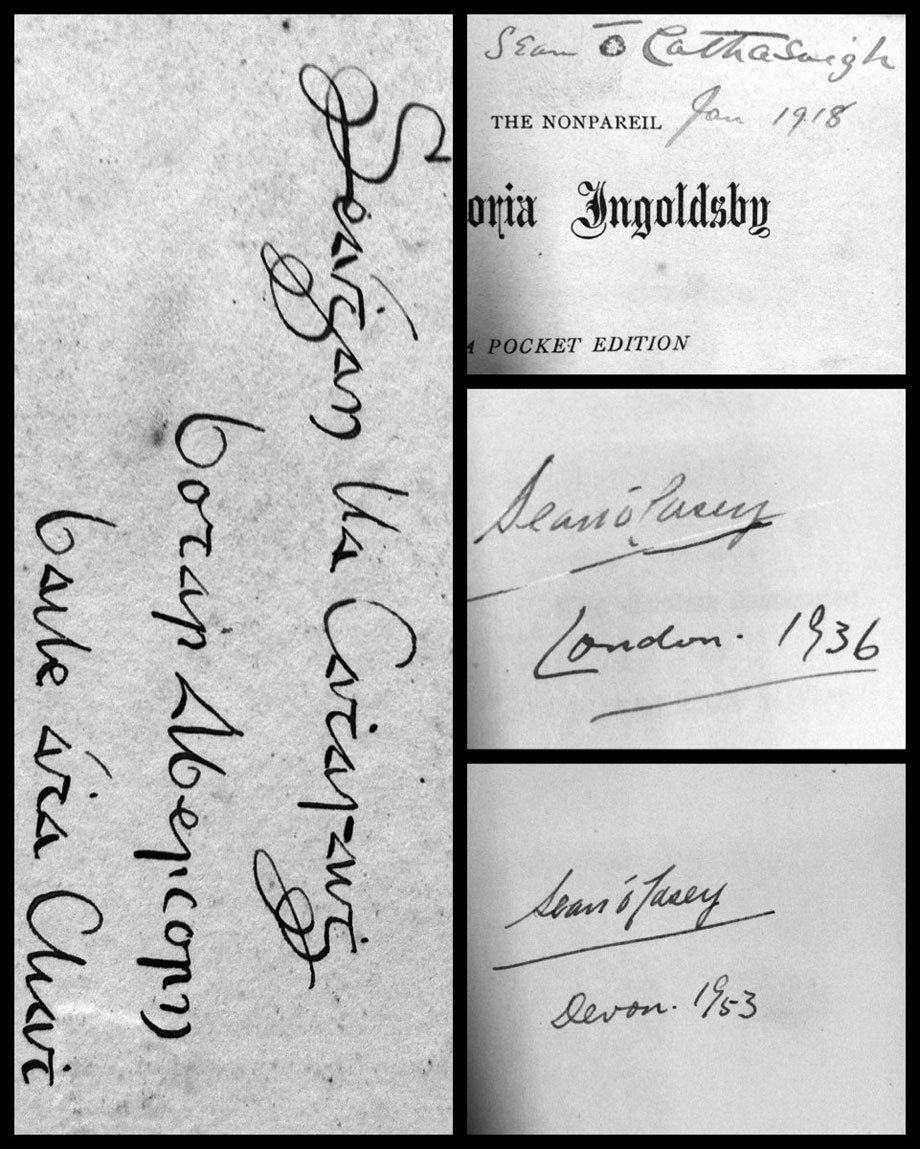 A range of O'Casey ownership signatures