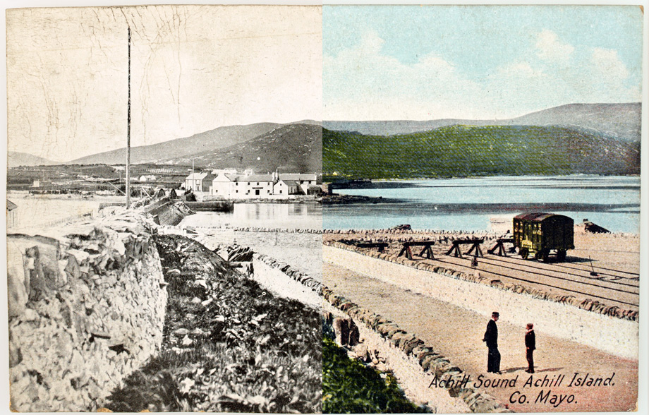 Achill Sound, Achil Island, Co. Mayo. Sadly, this railway line is no longer in use. It closed down in 1937. Superimposed on the right hand side (in a very snazzy way, if we do say so ourselves) is a rare example of a coloured postcard in this collection. (Lawrence Postcard Series)