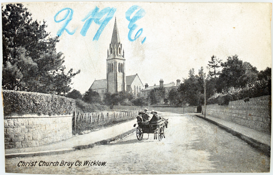 Nice view of Christ Church, Bray with people staring back at the camera. Photography may have been a novelty for them. (Lawrence Postcard Series)