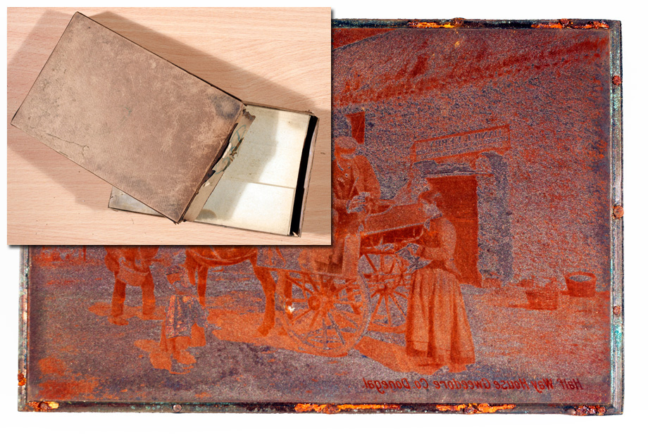 Original copper plate storage box (inset) and copper plate for a postcard of the Half Way House, Gweedore, Co. Donegal. (Lawrence Postcard Series)