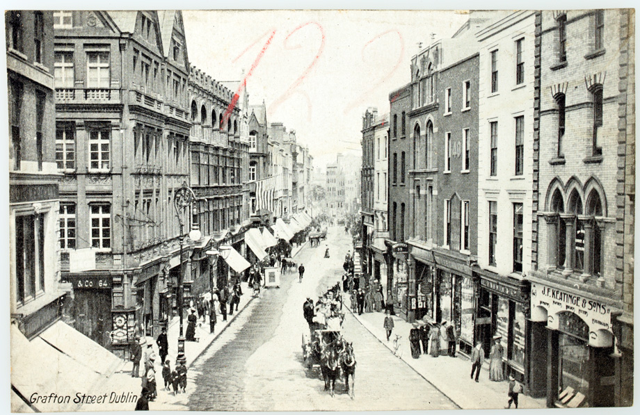 Interesting to see how this iconic Dublin street has changed, or not, over the last century. (Lawrence Postcard Series)