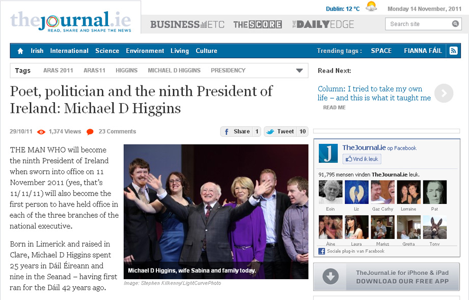 The President-elect, now President Michael D. Higgins celebrates his election victory on Monday, 14 November 2011 - from TheJournal.ie