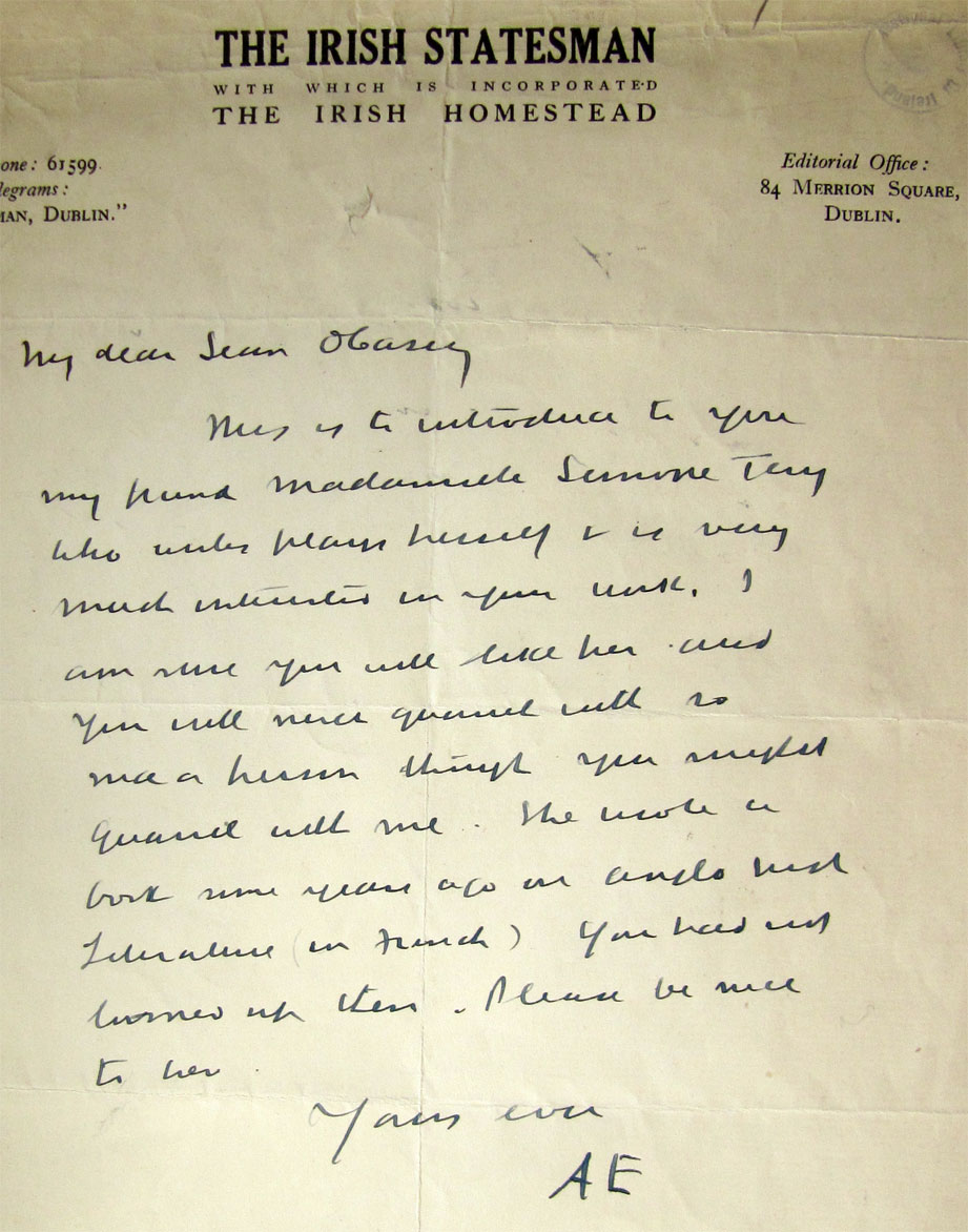 Letter from AE to Sean O'Casey