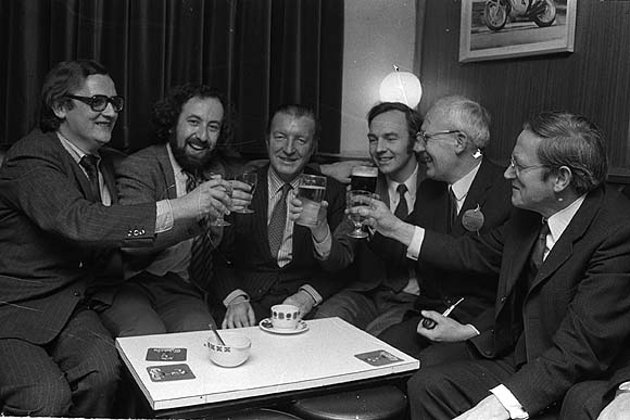 A toast to Charles J. Haughey after topping the poll (1973)