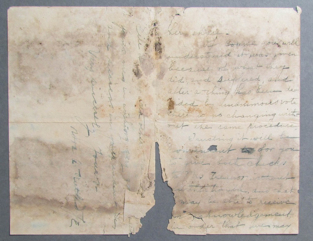 This letter is severly damaged by mould causing extreme discolouration ink damage and embrittlement