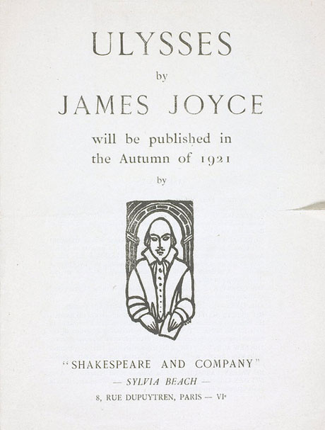 Announcement of publication of Ulysses, 1921.